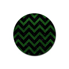 Chevron9 Black Marble & Green Leather Rubber Round Coaster (4 Pack)