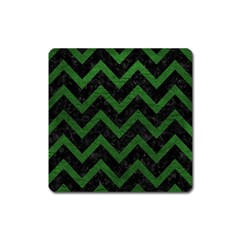 Chevron9 Black Marble & Green Leather Square Magnet