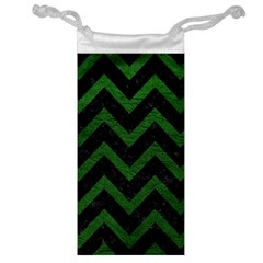 Chevron9 Black Marble & Green Leather Jewelry Bag