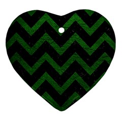 Chevron9 Black Marble & Green Leather Heart Ornament (two Sides)