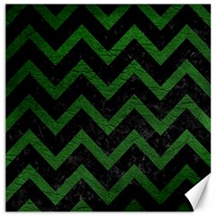 Chevron9 Black Marble & Green Leather Canvas 20  X 20