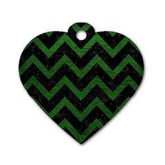 Chevron9 Black Marble & Green Leather Dog Tag Heart (one Side)