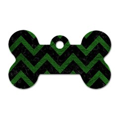 Chevron9 Black Marble & Green Leather Dog Tag Bone (two Sides)