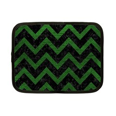 Chevron9 Black Marble & Green Leather Netbook Case (small)