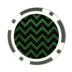Chevron9 Black Marble & Green Leather Poker Chip Card Guard (10 Pack)