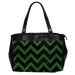 Chevron9 Black Marble & Green Leather Office Handbags (2 Sides)