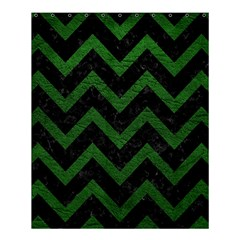 Chevron9 Black Marble & Green Leather Shower Curtain 60  X 72  (medium)