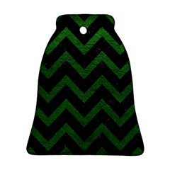 Chevron9 Black Marble & Green Leather Ornament (bell)