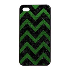 Chevron9 Black Marble & Green Leather Apple Iphone 4/4s Seamless Case (black)