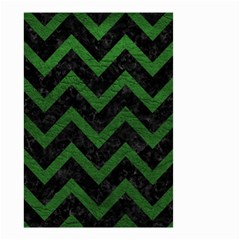 Chevron9 Black Marble & Green Leather Small Garden Flag (two Sides)