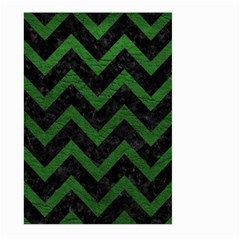 Chevron9 Black Marble & Green Leather Large Garden Flag (two Sides)