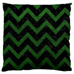 Chevron9 Black Marble & Green Leather Large Cushion Case (one Side)
