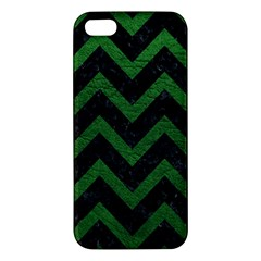 Chevron9 Black Marble & Green Leather Iphone 5s/ Se Premium Hardshell Case