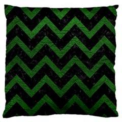Chevron9 Black Marble & Green Leather Large Flano Cushion Case (one Side)