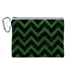 Chevron9 Black Marble & Green Leather Canvas Cosmetic Bag (l)