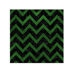 Chevron9 Black Marble & Green Leather Small Satin Scarf (square)