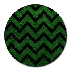 Chevron9 Black Marble & Green Leather (r) Round Mousepads