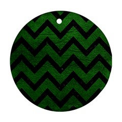 Chevron9 Black Marble & Green Leather (r) Ornament (round)