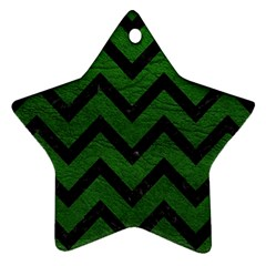 Chevron9 Black Marble & Green Leather (r) Ornament (star)