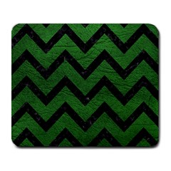 Chevron9 Black Marble & Green Leather (r) Large Mousepads