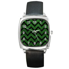 Chevron9 Black Marble & Green Leather (r) Square Metal Watch