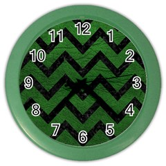Chevron9 Black Marble & Green Leather (r) Color Wall Clocks