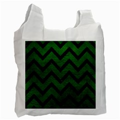 Chevron9 Black Marble & Green Leather (r) Recycle Bag (one Side)