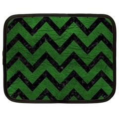 Chevron9 Black Marble & Green Leather (r) Netbook Case (xxl)
