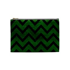 Chevron9 Black Marble & Green Leather (r) Cosmetic Bag (medium)