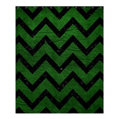 Chevron9 Black Marble & Green Leather (r) Shower Curtain 60  X 72  (medium)