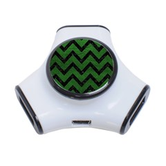 Chevron9 Black Marble & Green Leather (r) 3 Port Usb Hub