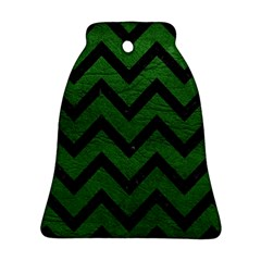 Chevron9 Black Marble & Green Leather (r) Bell Ornament (two Sides)