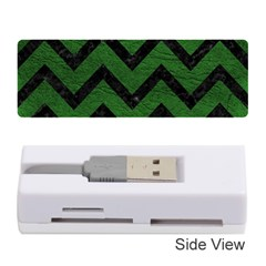 Chevron9 Black Marble & Green Leather (r) Memory Card Reader (stick)