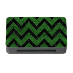 Chevron9 Black Marble & Green Leather (r) Memory Card Reader With Cf