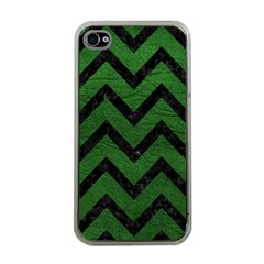 Chevron9 Black Marble & Green Leather (r) Apple Iphone 4 Case (clear)