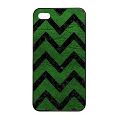 Chevron9 Black Marble & Green Leather (r) Apple Iphone 4/4s Seamless Case (black)