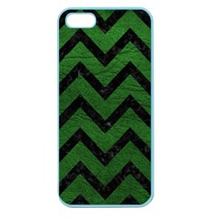 Chevron9 Black Marble & Green Leather (r) Apple Seamless Iphone 5 Case (color)