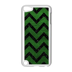 Chevron9 Black Marble & Green Leather (r) Apple Ipod Touch 5 Case (white)