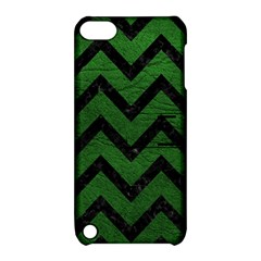 Chevron9 Black Marble & Green Leather (r) Apple Ipod Touch 5 Hardshell Case With Stand