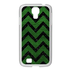 Chevron9 Black Marble & Green Leather (r) Samsung Galaxy S4 I9500/ I9505 Case (white)