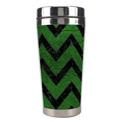 Chevron9 Black Marble & Green Leather (r) Stainless Steel Travel Tumblers