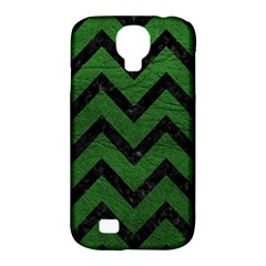 Chevron9 Black Marble & Green Leather (r) Samsung Galaxy S4 Classic Hardshell Case (pc+silicone)