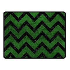 Chevron9 Black Marble & Green Leather (r) Double Sided Fleece Blanket (small)