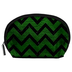 Chevron9 Black Marble & Green Leather (r) Accessory Pouches (large)