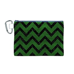 Chevron9 Black Marble & Green Leather (r) Canvas Cosmetic Bag (m)