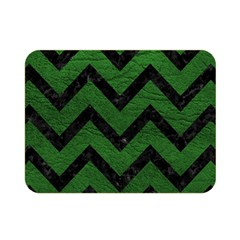 Chevron9 Black Marble & Green Leather (r) Double Sided Flano Blanket (mini)