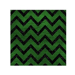 Chevron9 Black Marble & Green Leather (r) Small Satin Scarf (square)
