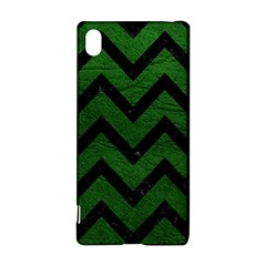 Chevron9 Black Marble & Green Leather (r) Sony Xperia Z3+
