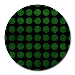 Circles1 Black Marble & Green Leather Round Mousepads