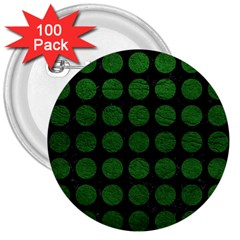 Circles1 Black Marble & Green Leather 3  Buttons (100 Pack)